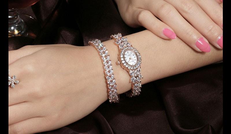 16 50M Waterproof Selberan Gold/Silver Natural Zircon Wrist Watch for Women Luxury Ladies Bracelet Watch Montre Femme Strass 16
