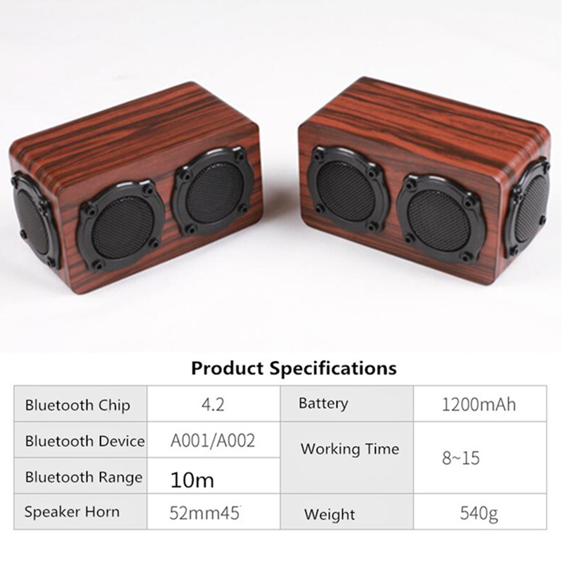 Super Bass Wooden Bluetooth Speaker Wireless Stereo Sound Box Subwoofer For Iphone X 8 Samsung Galaxy S9 Xiaomi S6 Honor P7