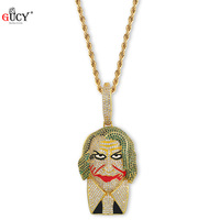 GUCY Hip Hop The Joker supervillain Pendant Necklace Micro Pave Cubic Zircon Charm Jewelry For Men and Women's Gift