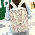 2016 New Arrival Honeycherry Canvas Women Floral Softback Zipper Polyester Resin Mesh Solid Bag Fresh Soft Handle Backpacks