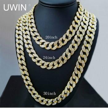 UWIN Iced Out Bling Rhinestone Cristal Goldgen Acabamento Miami Cubano Elo Da Cadeia Dos Homens Colar de Hip hop Jewelry 20, 24, 30, 36 Polegada