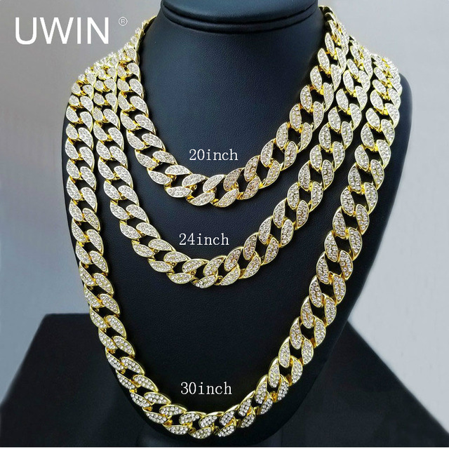 b786ab1aa4c392 UWIN Iced Out Bling Rhinestone Crystal Goldgen Finish Miami Cuban Link Chain  Men's Hip hop Necklace Jewelry 20, 24, 30 ,36 Inch