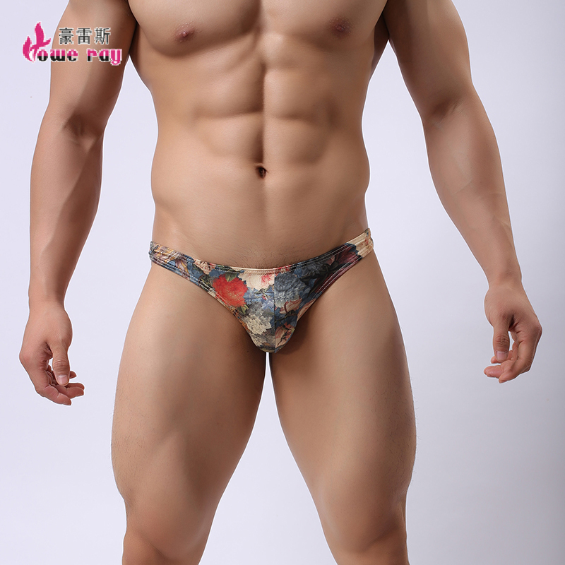 Бикини для Для мужчин дышащая молочного шелка с принтом в стиле ретро без застежки Homme пикантные Для мужчин гей Brifes Tight Для мужчин S Нижнее Бе... ...