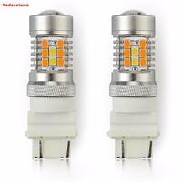 2 Pcs Haute Puissance 2835 28-SMD LED Blanc/Ambre 3157 3357 3457 4157 4357 Switchback Ampoules LED Pour L'avant Clignotants Lumières
