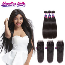 Mornice brasilianska Straight Hair Weave Bundles Med Closure Natural Color Mänskliga Hårpaket Med Stängning Non Remy Hair Extension