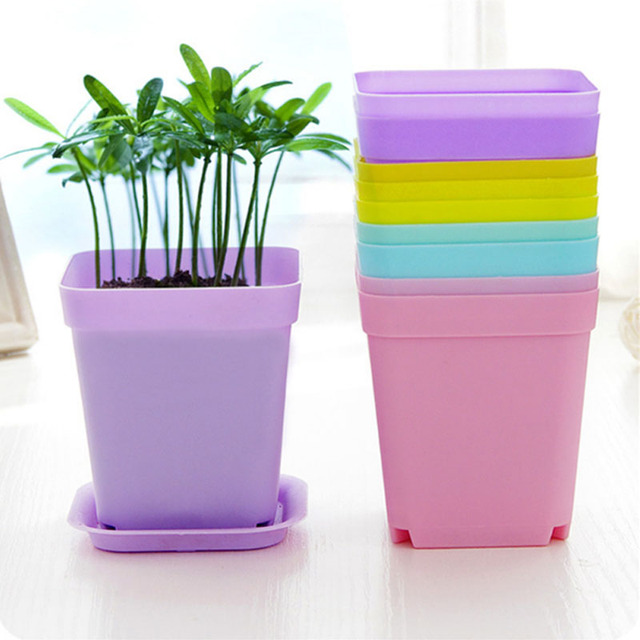10pcs Mini Square Plastic Plant Flower Pot Home Office Decor Planter Colorful With Pots Trays Green Plant Artificial WYQ