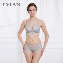 Front buttoned silk bra Movement without steel ring Real silk Breast-feeding brassiere Ventilation Comfortable LVFAN TGB-015(China)