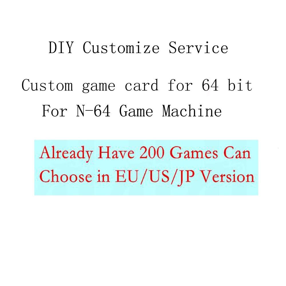 Personnalisé carte de jeu pour N64 Jeu Console bricolage Cartouche pour 64 peu console avec 8 gb Carte Mémoire choisir 200 jeux dans L'UE/US version