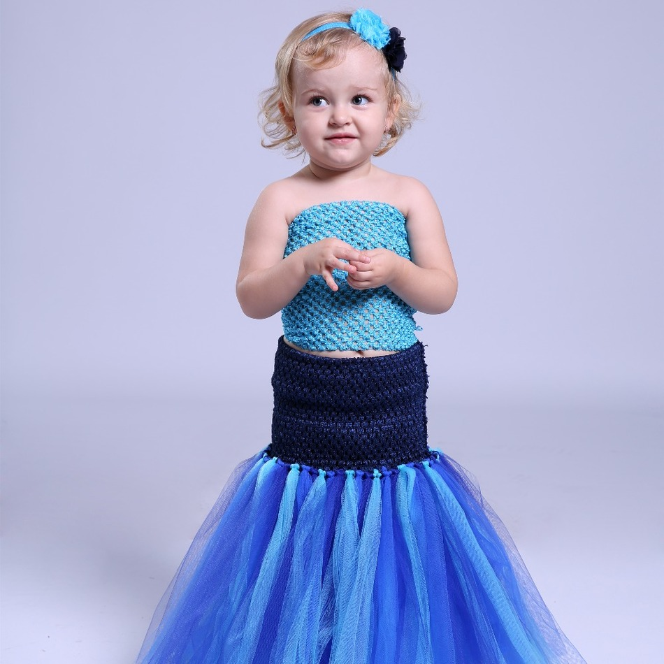 New Baby Kids Girl Tutu Dress Mermaid Halloween Cosplay Costume Princess Tulle Dresses For Party Birthday Photograph Performance children trolls poppy cosplay tutu dress baby girl birthday party dresses princess christmas halloween costume for kids clothes