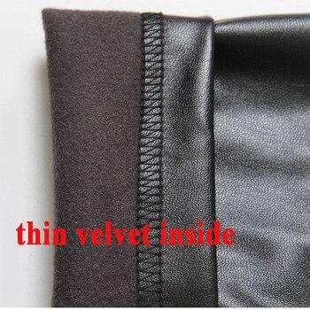 2019 Autumn winter Women legging skinny PU leather pencil Leggings slim faux Leather Pants female fashion thick fleece trousers 4