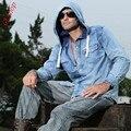 2016 Primavera Otoño moda Hombre Casual Jeans Denim Ocio Slim Fit Camisa Con Capucha Sudadera Con Capucha de Algodón Nuevas Camisas de Vaquero Azul Fresco