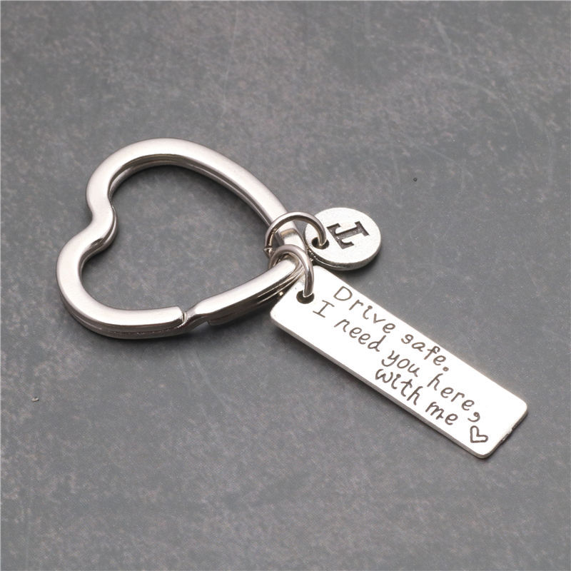 Customized A-Z Letters Keychain Jewelry Engraved Drive Safe I Need You Here With Me Lovers Llavero Valentine's Day Gift Key Ring