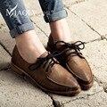 Sólido Punta Cerrada Zapatos Marrones de Las Mujeres de Cuero Suave Zapatos Planos de Las Mujeres de Oxford Pu Impermeable Cachorro de Tacón Estilo Británico Meseta Neutral