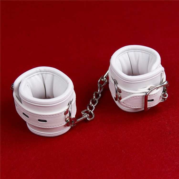Buy 2018 Newest leather harness bondage hand ankle cuffs wrist restraints white handcuffs slave bdsm fetish erotic toys adults