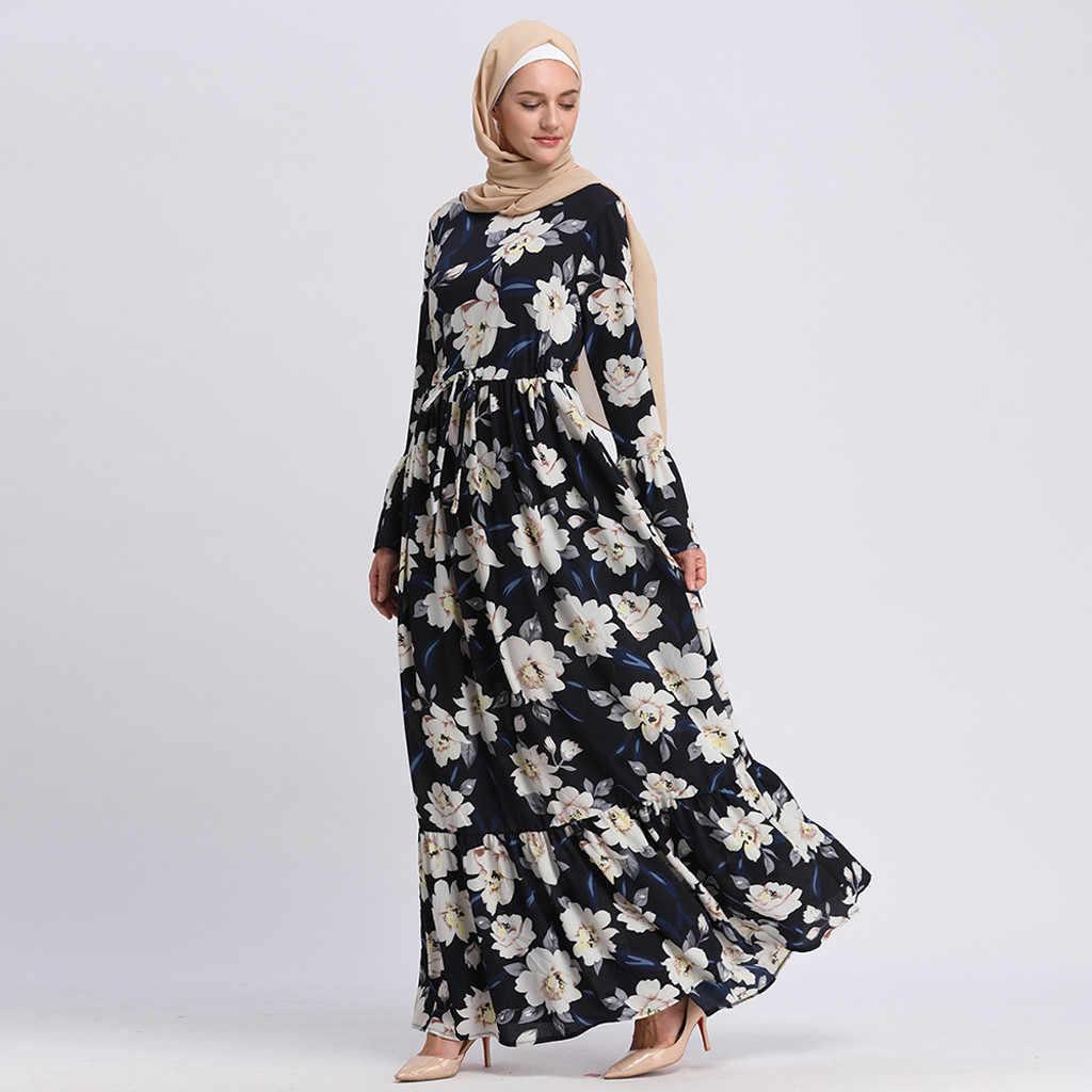 Hot Koop Moslim Jurk Vrouwen 2019 Lange Maxi Jurk Gewaad Abaya Islamitische Bloem Dubai Vest Femme Moslim Jurk Kleding Ramadan nieuwe