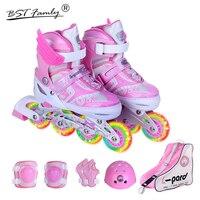 Kids'Full роликовых коньках обувь Inline ежедневно улице кисти катание регулируемые катание Patines En Linea защитный костюм IA01
