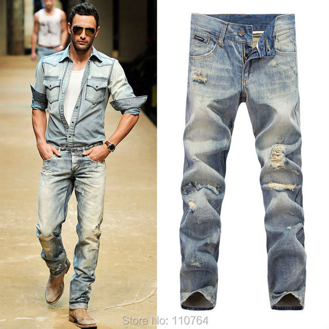 9d1455470f554 2014 G Men Fashion Brand Slim Straight Ripped Jeans Hole Vintage Light Blue  Denim Long Pants European and American style