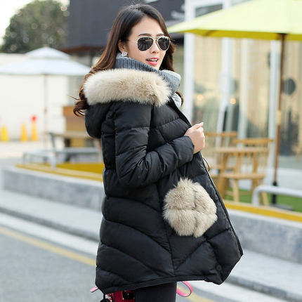 2015 Autumn Winter New Woman Hooded Down jacket Mid Long Pocket Fox Fur collar A version Cloak Down jacket Parkas Coat