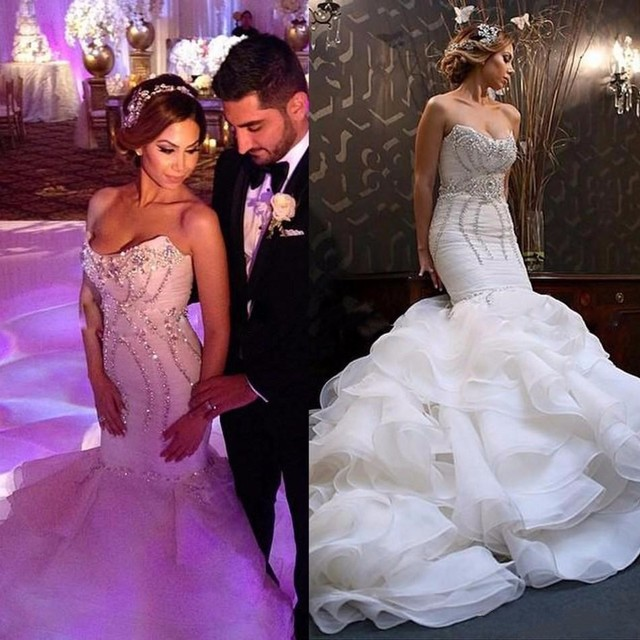 Hochzeit Kleid Puffy Elegante Organza Kristall korsett Prinzessin ...
