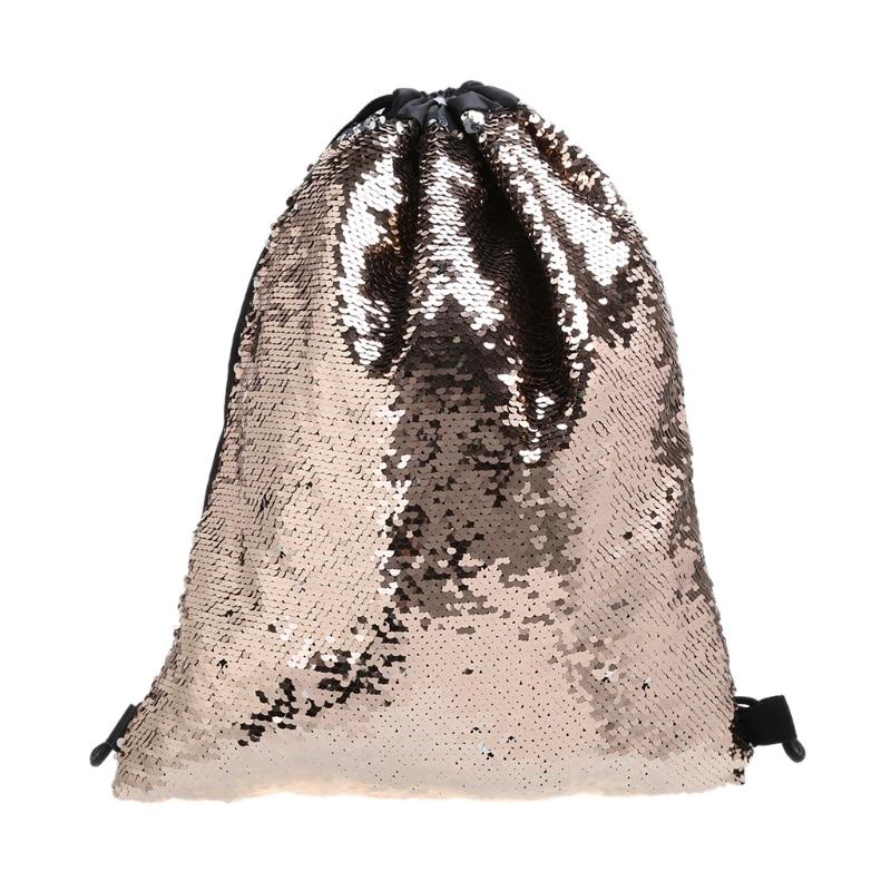 2019 New Women Sequin Backpack Glitter Shoulder Bag Shopping Travel Drawstring Bags
