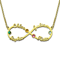 Wholesale Infinity 4 Names Necklace With Birthstones Gold Color Personalized Infinity Necklace Mother Birthstone Jewelry