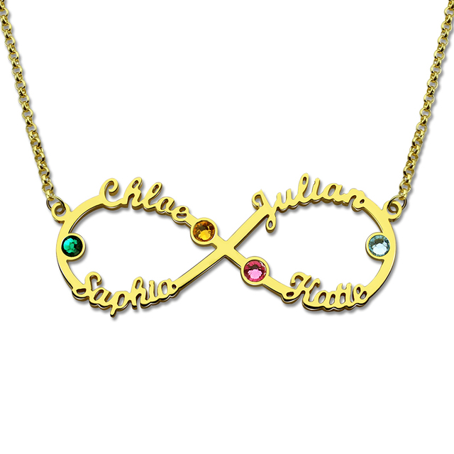 Aliexpress buy wholesale infinity 4 names necklace with wholesale infinity 4 names necklace with birthstones gold color personalized infinity necklace mother birthstone jewelry aloadofball Images