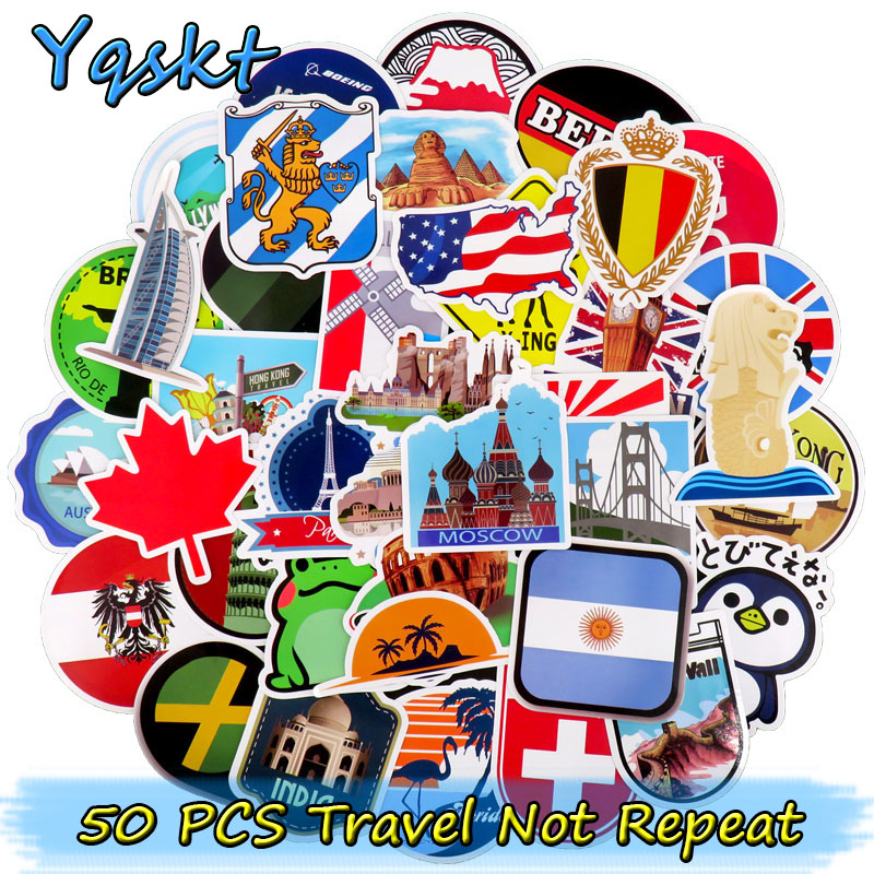 50 Pcs Travel Stickers for Luggage Guitar Laptop Phone Skateboard Bicycle Motorcycle Vinyl Decal Graffiti Waterproof Stickers dsu bathroom wall stickers wash your hands love mom waterproof art vinyl decal