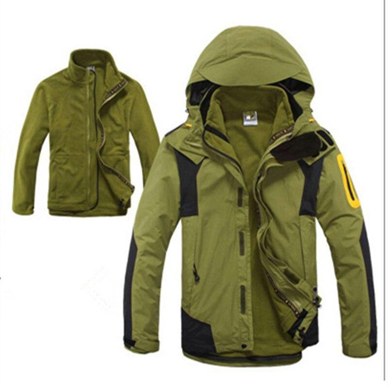Hot Men's Hiking Climbing 3 In 1 Outdoor Jacket Winter Inner Fleece Waterproof Sports Coat Camping Trekking Skiing Male Clothes