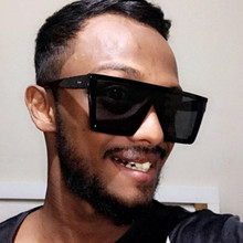 SO&EI Oversized Square Sunglasses Men and Women Flat Top Fashion Lenses Siamese Goggle Sunshade UV400