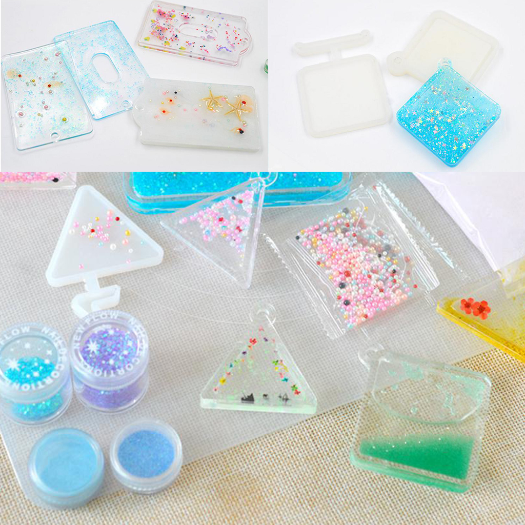 1 Set Quicksand Triangular Pendants Mould Shaker Molds Liquid Silicone Mould DIY Epoxy Resin Casting Molds Jewelry Making Tools