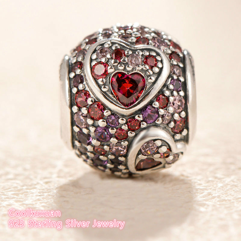 Image 3 - 2019 Valentine's Day 100% 925 Sterling Silver Asymmetric Hearts of Love Charm, Red &Pink CZ Fit Original Pandora Charms Bracelet-in Beads from Jewelry & Accessories