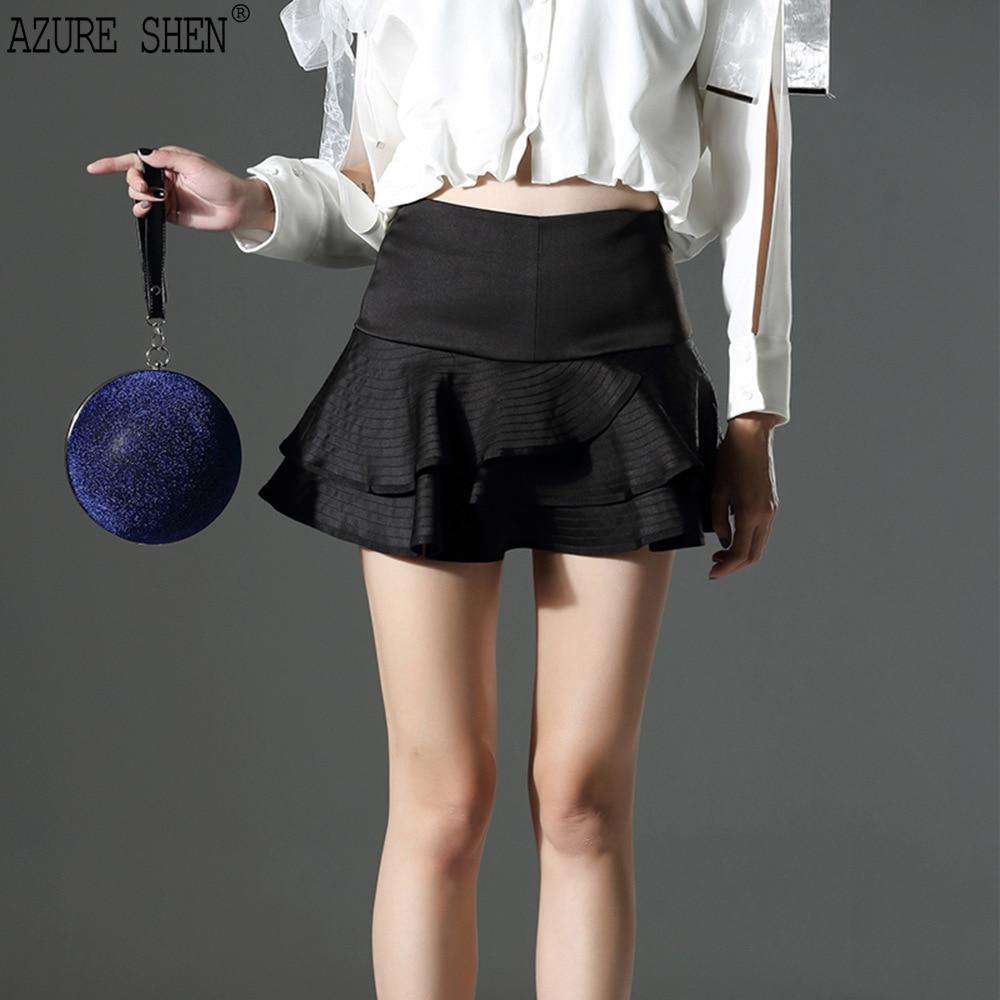 [AZURESHEN] New Summer 2018 Fashion Tailor-made Black High-end High Waist Patchwork Ruffles loose Shorts Skirts women AZ212