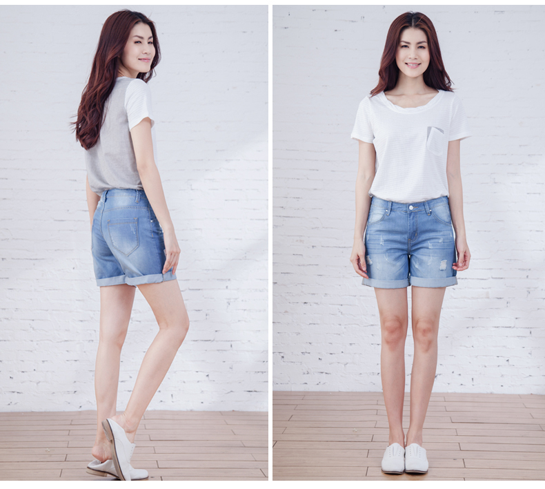 Aliexpress.com : Buy High waist denim shorts hole female knee ...