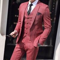 Wedding Suits For Men ( Jacket + Vest + Pants ) 2019 Men's Formal Business 3 Piece Set Casual Groom Tuxedo Suits Costume Homme