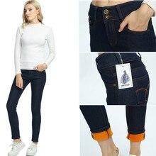 WKOUD 2018 Winter Jeans Women Gold Fleeces Inside Thickening Denim Pants High Waist Warm Trousers Female Snow Jeans Pants P8018