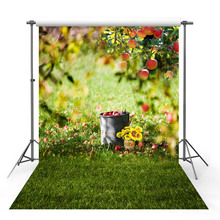 Get more info on the Vinyl Photography Backdrop Spring Season Fruit Tree Sunflower Green Lawn Wildflower Tree Decor Children Background Photo Studio
