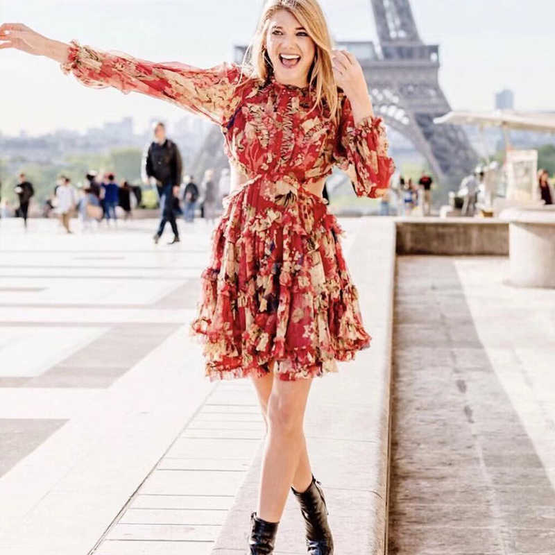 1a51f1f395652 Fall 2018 New Silk Women Melody Lace Up Short Dress - Sexy Backless  Burgundy Floral Print