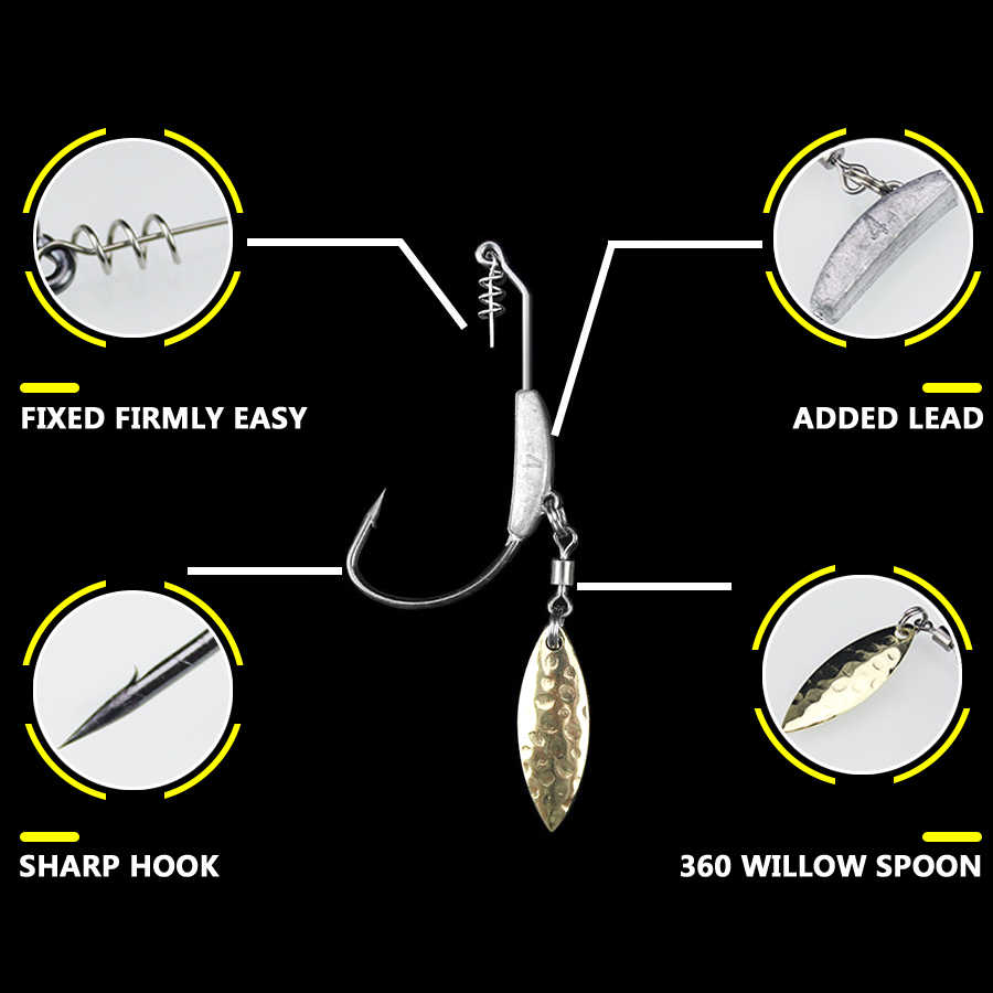 10PCS/Lot Offset Fishing Hooks Lead Weighted Crank Hook with Spoon Soft Baits Hook Add Lead Weight Worm Hook