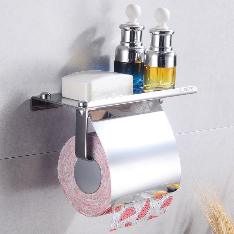 Bathroom Towel Bar Holder Rack Mounted Arms Towel Hanging with Hooks Toilet Paper Holder with Shelf Wall Mount Robe Hook