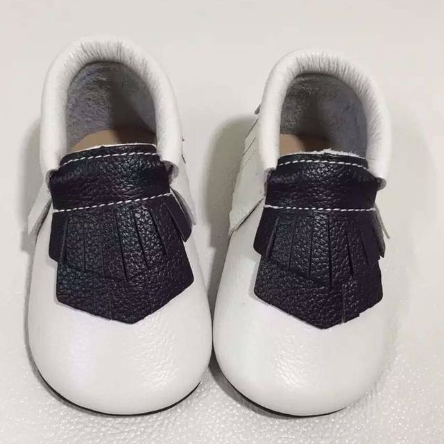 hot sell new style genuine leather baby moccasins double fringe Toddler Baby girls boys shoes hard rubber sole first walkers