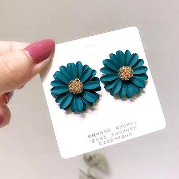 Korean Style Cute Metal Flower Stud Earrings For Women Girl Fashion Big Sweet Earring