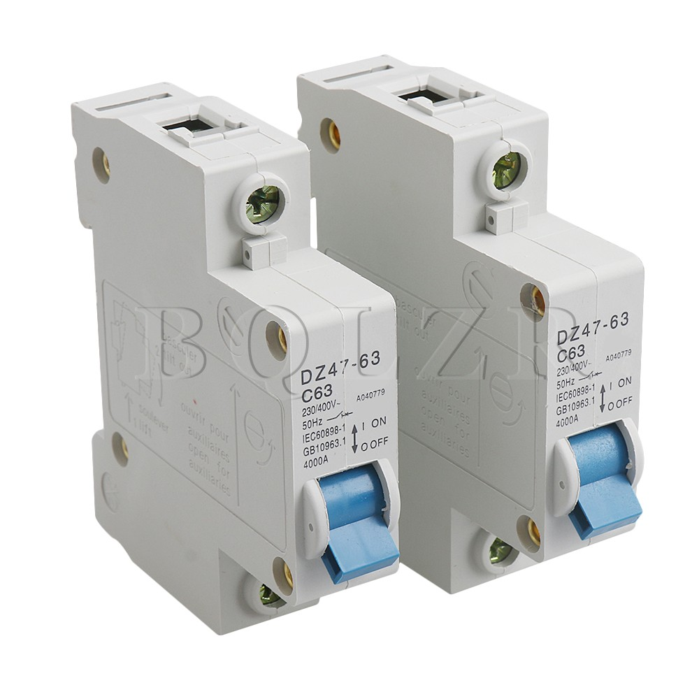 us $8 98 2x bqlzr 230 400v gray plastic dz47 63 a miniature circuit breaker for overload of electrical lines and equipment in circuit breakers from