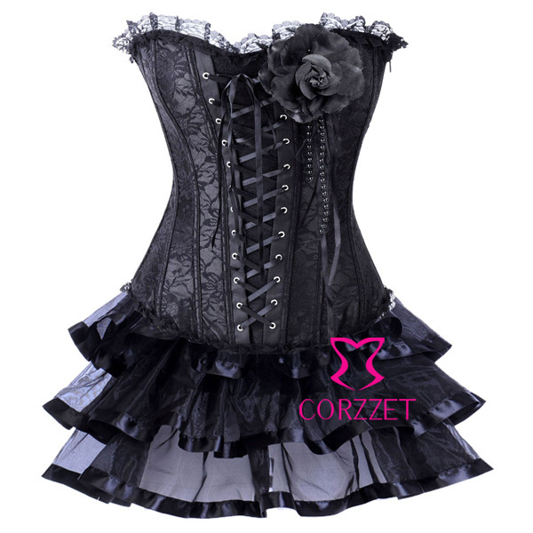Women Burlesque Clubwear Lace & Satin Black Sexy   Corset   Dress Strapless Overbust Push Up   Bustiers   &   Corsets   Set With Tutu Skirt