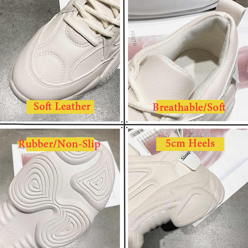 85c882f4f06 Designer Spring Chunky Sneakers Women Sneakers 2019 Leather Platform White  Running Shoes Woman Trainers basket zapatillas mujer