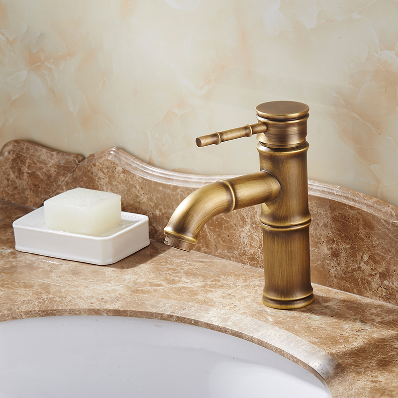Oil Rubbed Bronze Bathroom Sink Faucet Vessel Tall Bamboo Water Tap lnf024