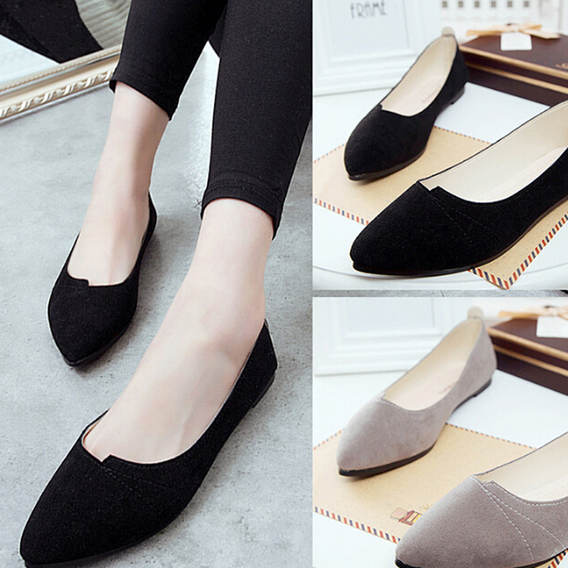 Women Shoes Flock Ballet Flats Female Spring Shoes For Work Cloth Flats Sweet Loafers Slip On Women's Pregnant Flat Shoes 911589 spring summer flock women flats shoes female round toe casual shoes lady slip on loafers shoes plus size 40 41 42 43 gh8
