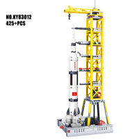 City space conquest Saturn V Carrier rocket building block figures Astronaut minifigs Launching base bricks education toys gifts