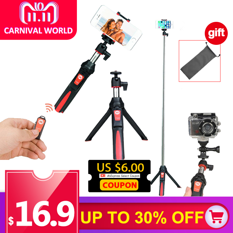 BENRO MK10 33inch Rotation Tripod Selfie Stick Bluetooth Remote Extend Monopod Selfie Tripod for iPhone Xs Xiaomi Samsung Gopro floveme tripod selfie stick wireless bluetooth monopod for iphone samsung xiaomi remote control handheld smartphone selfie stick