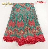 Francuski koronki tkaniny tkaniny różowy koronki 3d kwiaty koralikami koronki tkaniny wysokiej jakości koronki nigerii do wieczorowej sukni JYN86