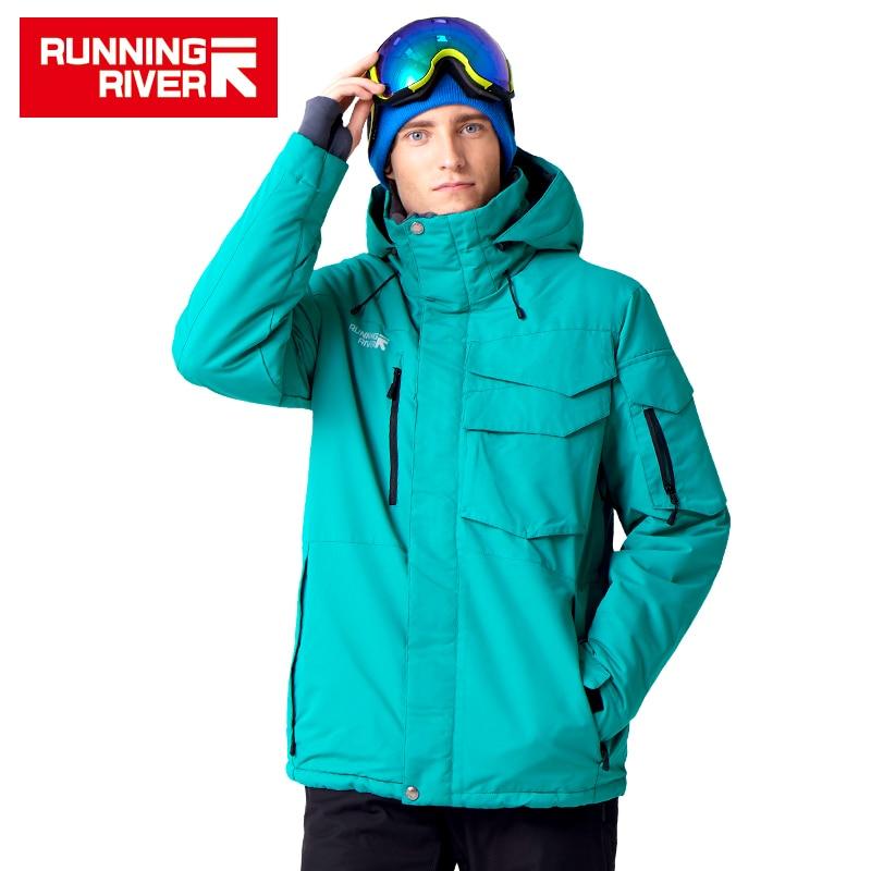 RIVIÈRE qui COULE Marque Veste Imperméable Pour Hommes Jeu De Combinaison De Ski Hommes Snowboard Veste Mâle Ski Vêtements # A3268